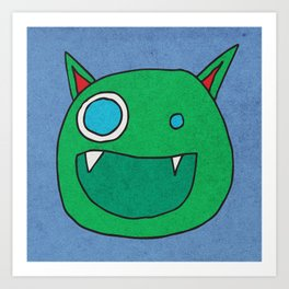 Slightly Amused Monsters, I Green Art Print