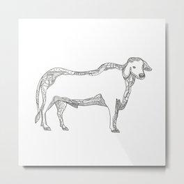 Brahman Bull Side Doodle Side Metal Print