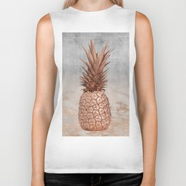 Pineapple in Glitter Marble Rose Gold And Concrete Biker Tank