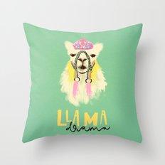 Llama drama queen Throw Pillow