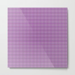 Purple Gingham Checkered Pattern Metal Print