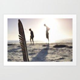 Feather on the Beach Art Print