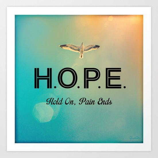Always Have Hope (Seagull Flying in Teal Sky) Art Print