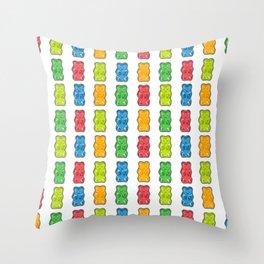Rainbow Gummy Bears Throw Pillow