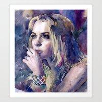 "lindsay lohan Art Prints featuring ""Lindsay Lohan"" by Emma Reznikova"