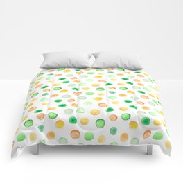 Hand painted brown yellow green watercolor polka dots Comforters