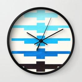 Cerulean Blue Minimalist Abstract Inca Pattern Midcentury Watercolor Geometric Painting Wall Clock