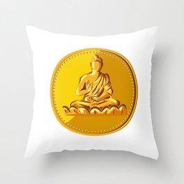 Buddha Gold Coin Medallion Retro Throw Pillow