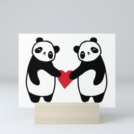 Panda Love  panda bear in love Mini Art Print