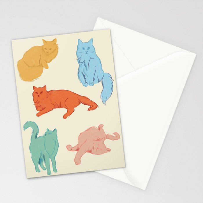 Cattitude - Cat illustration print Stationery Cards
