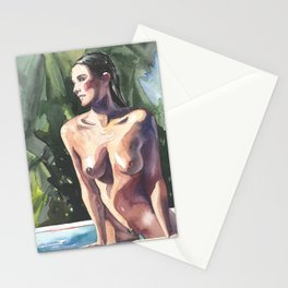 Original erotic watercolor painting NUDE GIRL POSING By the pool Stationery Cards