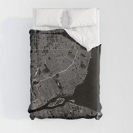 Detroit Black Map Duvet Cover