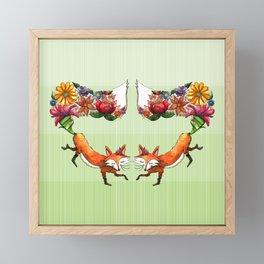 Fox Friends Sprouting Flowers Framed Mini Art Print