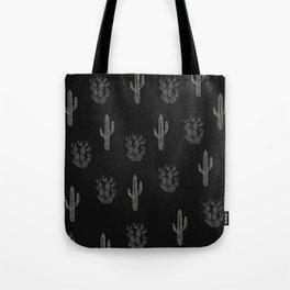 Cactus Pattern Black Tote Bag