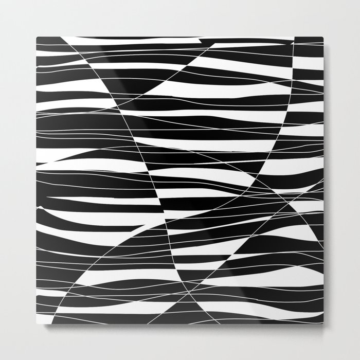 Carved Black and White Wave Metal Print