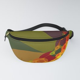 lauren - bright abstract of pea green emerald tan rust brown yellow and red Fanny Pack