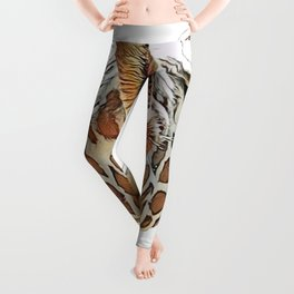 Giraffe High Face Giraffa After Party Funny Posture Leggings