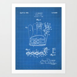 Baseball Glove Patent - Baseball Art - Blueprint Art Print