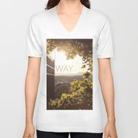 norway V-neck T-shirts featuring Way, Norway by Hana Savana