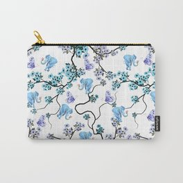 Modern lavender teal floral elephant butterfly pattern Carry-All Pouch