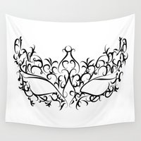 mask Wall Tapestries featuring Mask by Jessica Slater Design & Illustration