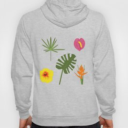 Jungle / Tropical Pattern in white Hoody