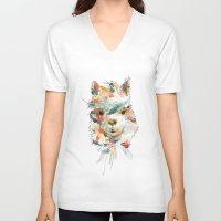alpaca V-neck T-shirts featuring + Watercolor Alpaca + by BANBAN