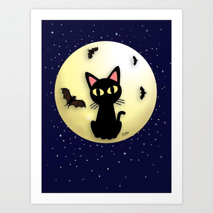Cat and Bats Art Print