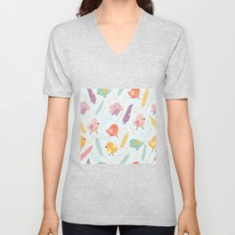 Pattern with feathers and birds Unisex V-Neck