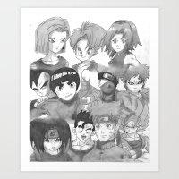 dragonball z Art Prints featuring Dragonball Z & Naruto Creation by Hitmakerzpro