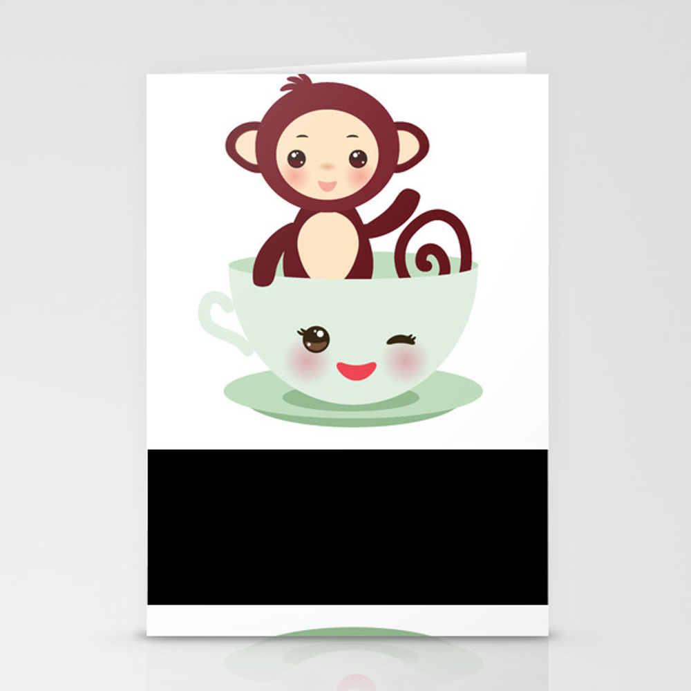 Cute Kawai Pink Cup With Brown Monkey Stationery Cards by Ekaterinap CRD8754478