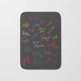 black with colored signatures Bath Mat