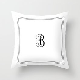 Monogram Letter B in Black with Triple Border Deko-Kissen