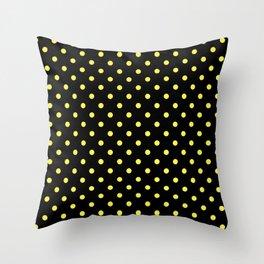 Medium Lemon Yellow on Black Polka Dots | Throw Pillow