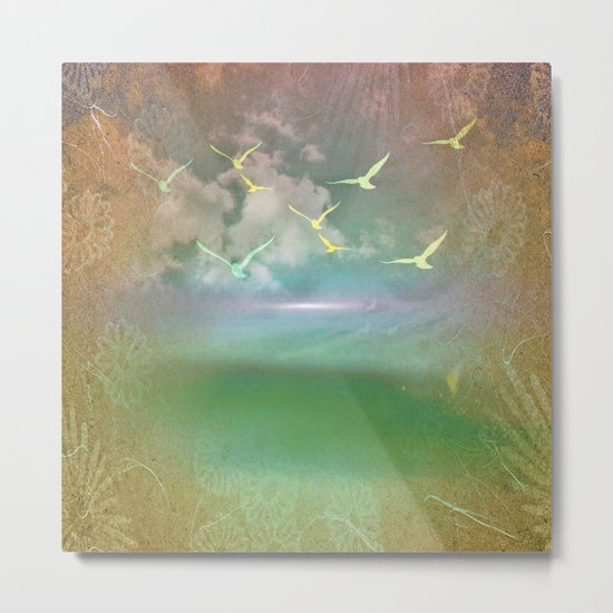 Day At The Beach Abstract Metal Print
