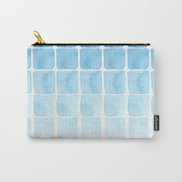 Watercolour Blue Seaside Squares Pattern Carry-All Pouch