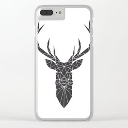Grey Deer Head Illustration Clear iPhone Case