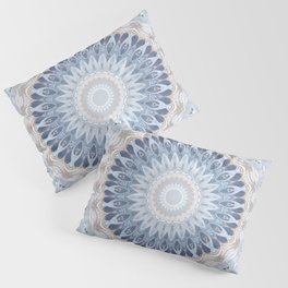 Serenity Mandala in Blue, Ivory and White on Textured Background Pillow Sham