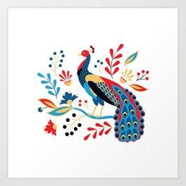 Folk Peacock Bright Art Print