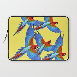 FLOCK OF BLUE MACAWS ON YELLOW Laptop Sleeve