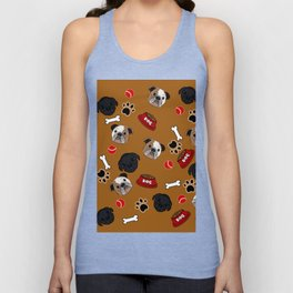 Dogs lovers bulldog and cat Unisex Tank Top