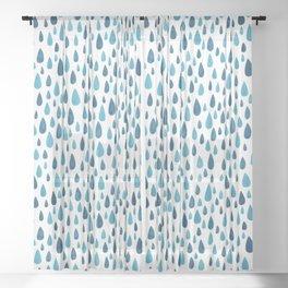 Blue Raindrops Sheer Curtain