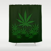 weed Shower Curtains featuring Weed by Leatherwood Design