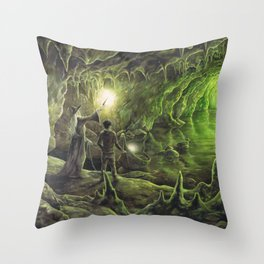 Harry and Dumbledore in the Horcrux Cave Throw Pillow