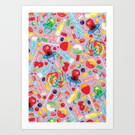 Candy Pattern - Purple Art Print