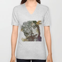 Of Suffering: Autumn (dark lady portrait with roses) Unisex V-Neck
