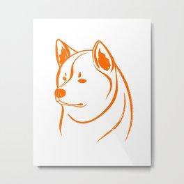 Akita Inu (White and Orange) Metal Print