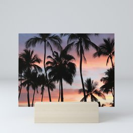 Tropical Palm Trees Sunset in Mexico Mini Art Print