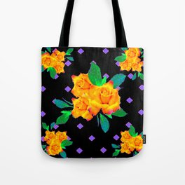 Black & Violet Golden Roses Pattern Tote Bag