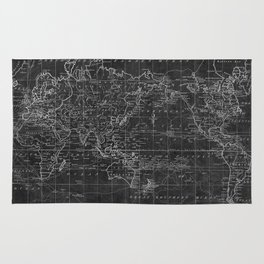 Black and White World Map (1799) Inverse Rug